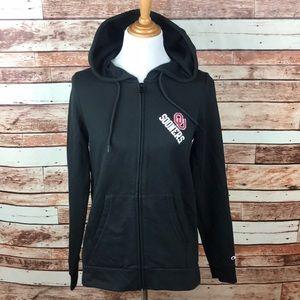 Oklahoma Sooners Women Black Zip Up Hooded Jacket